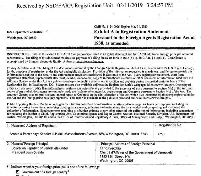 Registro en el Departamento de Justicia de EEUU del bufete Arnold Porter como representante del gobierno interino de Venezuela en EEUU