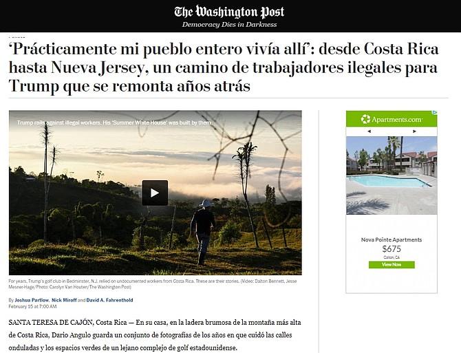 """The Washington Post publicó en español la historia """"'Prácticamente mi pueblo entero vivía allí': desde Costa Rica hasta Nueva Jersey, un camino de trabajadores ilegales para Trump que se remonta años atrás""""."""