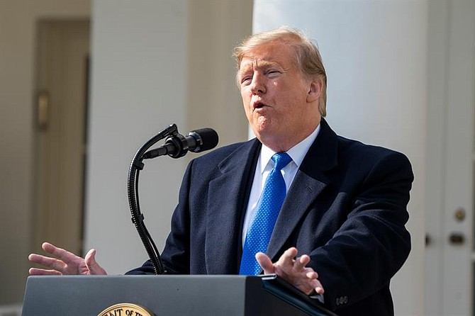 POLÍTICA. El presidente estadounidense, Donald Trump desde  una rueda de prensa este viernes en el Capitolio de Washington