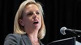 WASHINGTON. La secretaria de Seguridad Nacional de los Estados Unidos, Kirstjen Nielsen, habla en la Conferencia Nacional de Invierno de la Asociación Legislativa y de Tecnología de Alguaciles, este lunes 11 de febrero
