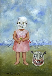Girl with Death Mask (She Plays Alone), 1938. Frida Kahlo (Mexican, 1907–1954). Oil on tin. Nagoya City Art Museum. 2019 Banco de México Diego Rivera Frida Kahlo Museums Trust, Mexico, D.F. / Artists Rights Society (ARS), New York.