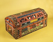 Trunk, late 19th century. Made in Olinalá, Guerrero. Lacquered and painted wood. San Antonio Museum of Art, The Nelson A. Rockefeller Mexican Folk Art Collection.