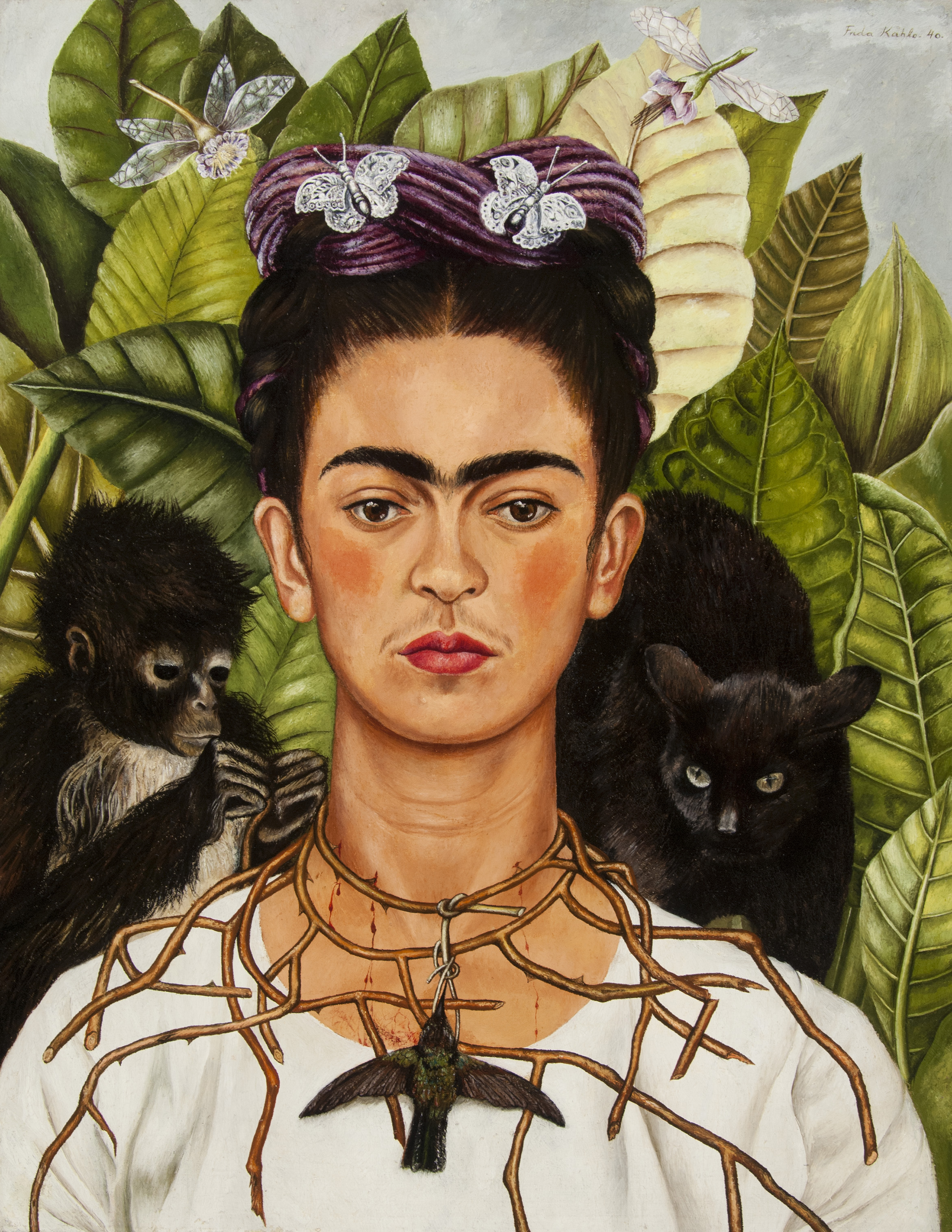 Self-Portrait with Hummingbird and Thorn. Frida Kahlo (Mexican, 1907–1954). 1940. Oil on masonite. *Nickolas Muray Collection of Modern Mexican Art, Harry Ransom Center, The University of Texas at Austin. *© 2018 Banco de México Diego Rivera Frida Kahlo Museums Trust, Mexico, D.F./Artists Rights Society (ARS), New York. *Courtesy, Museum of Fine Arts, Boston.