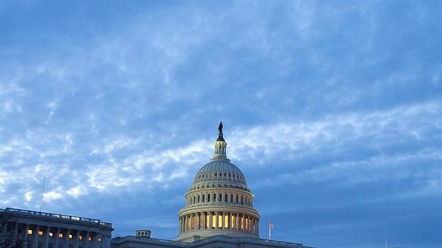 El capitolio, el lunes 11 de marzo, al amanecer en Washington DC en Estados Unidos