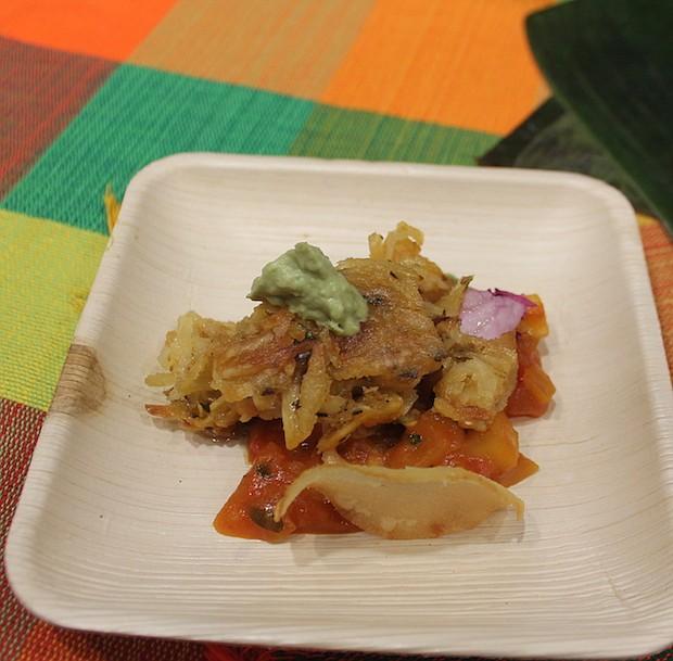 TRADICIÓN. Un primer plano del plato salvadoreño creado por el chef Santos Fuentes. Se inspiró en la tradición de la Semana Santa que siempre incluye pescado en su país.