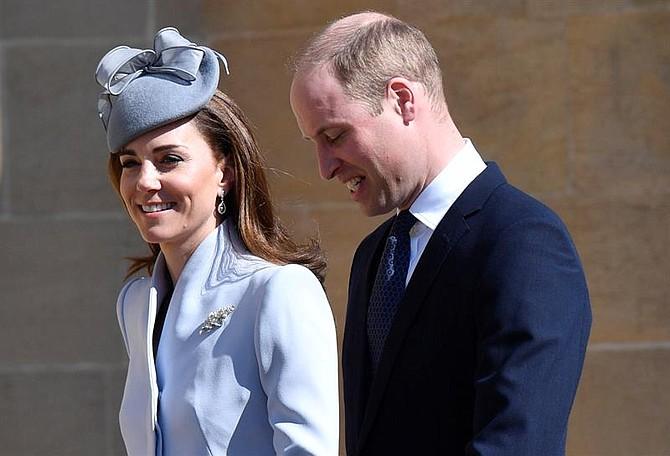 SHOW. Catherine, duquesa de Cambridge y su marido, el príncipe Guillermo, duque de Cambridge, llegan para el servicio anual del domingo de Pascua a la capilla de San Jorge en el castillo de Windsor, Gran Bretaña, el 21 de abril de 2019