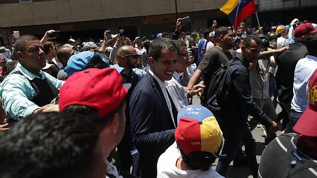 CARACAS. Juan Guaidó durante una concentración de este martes 30 de abril