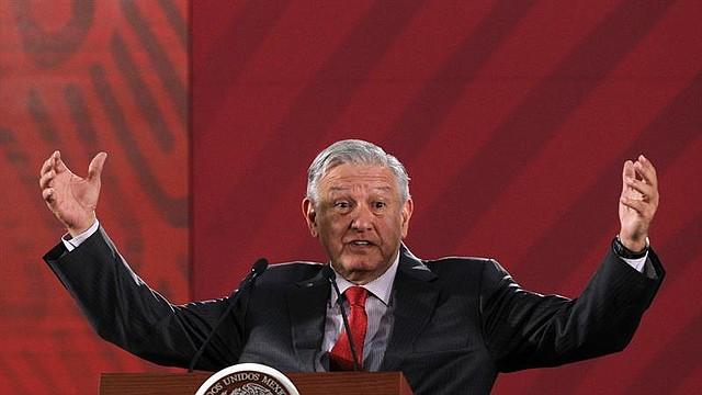 MÉXICO. El presidente de México, Andrés Manuel López Obrador, habla durante su rueda de prensa matutina diaria, este lunes, en Palacio Nacional en Ciudad de México