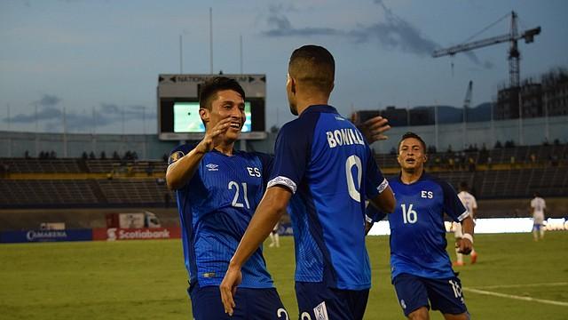 DEPORTES. Imagen de jugadores de la Selección de Fútbol de El Salvador en el partido ante Curazao.