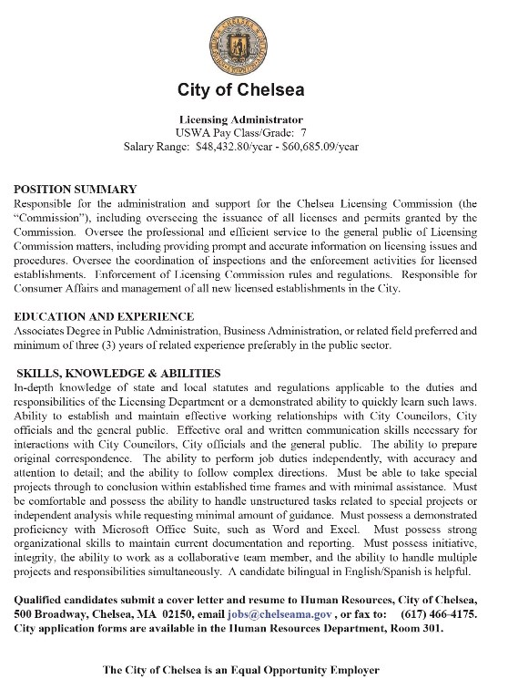 City of Chelsea is hiring a Licensing Administrator ...