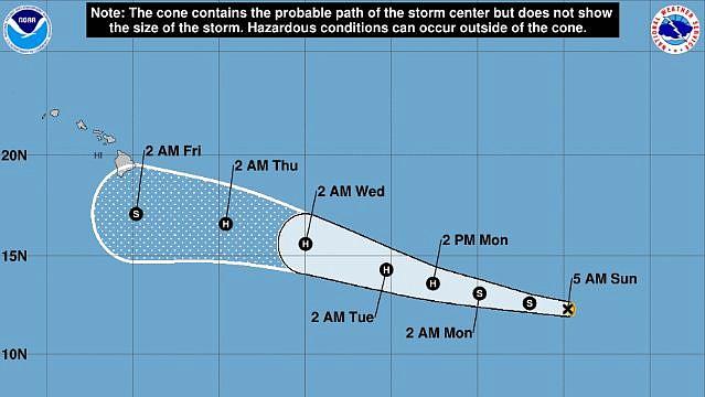 CLIMA. La tormenta tropical se convirtió en huracán de categoría 1 la tarde del lunes.   Foto Twitter @NWS