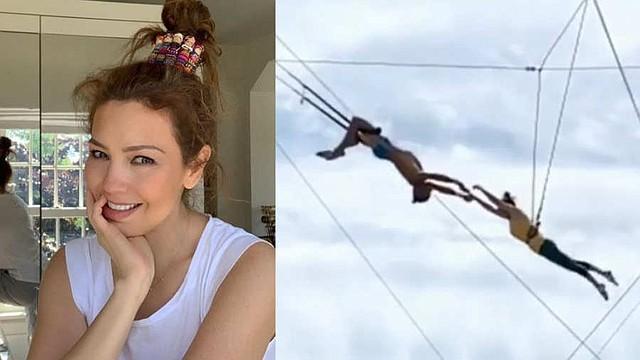 SHOW. La cantante Thalía muestra sus dotes como trapecista. | Foto/Instagram