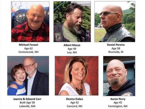 Las siete víctimas fatales del accidente ocurrido en Randolph el pasado 21 de junio.