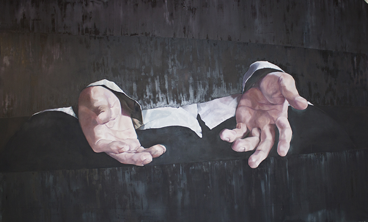Daniela Rivera, Donde el cielo toca la tierra [where the sky touches the earth], 2019, oil on canvas, 12′ x 20′. Photo courtesy of the artist.
