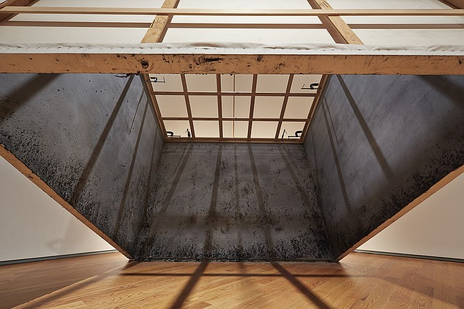 Daniela Rivera, Tilted Heritage, 2015, ash on canvas, stretcher bars, C clamps, pulley system and rope, 30' x 10' x 20'. Courtesy of artist.