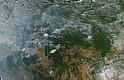 Fotografía tomada el 11 de agosto de 2019 por el Espectrorradiómetro de imágenes de media resolución (Modis) a bordo del satélite Aqua, y publicada en el servicio terrestre de la NASA, que muestra desde el espacio los focos de incendios forestales en la Amazonía brasileña. Foto: Efe.