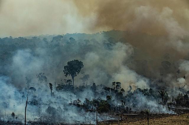 AMAZONÍA. Fotografía del viernes 23 de agosto de 2019, que muestra la situación del incendio en Novo Progresso, Brasil. | Foto: Efe/Victor Moriyama Greenpeace Brazil