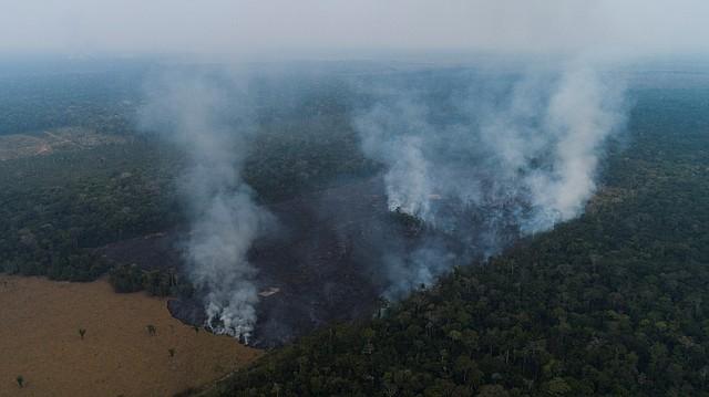 AMAZONÍA. Vista aérea de los efectos de uno de los incendios el sábado 24 de agosto en Rondonia, Brasil. El Estado brasileño inició el despliegue de militares para combatir las llamas.  | Foto: Efe/Joédson Alves