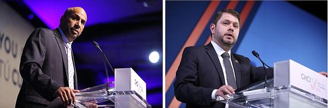 DIRECTIVOS. El presidente y CEO del CHCI, Marco Davis (izq.) y el presidente de la Junta Directiva, el representante Rubén Gallego, dando la bienvenida.
