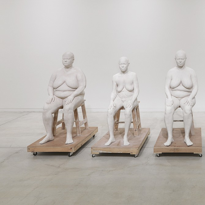 Bharti Kher, Six Women, 2014-15. Plaster of paris, wood, metal. In six parts, approximately 123 x 61 x 95.5 cm each. Installation view of Bharti Kher: Matter, exhibition at the Vancouver Art Gallery, July 9 to October 10, 2016. Courtesy of the artist and Hauser & Worth.
