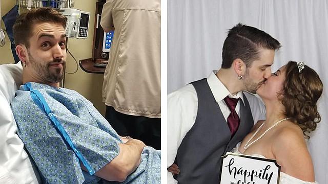 El día antes de su boda, Cameron Fischer tenía una resaca tan fuerte después de su despedida de soltero que fue a una sala de emergencias para rehidratarse. (Foto cortesía de Cameron Fischer)