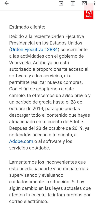 Adobe cesa sus servicios en Venezuela desde el 28 de octubre