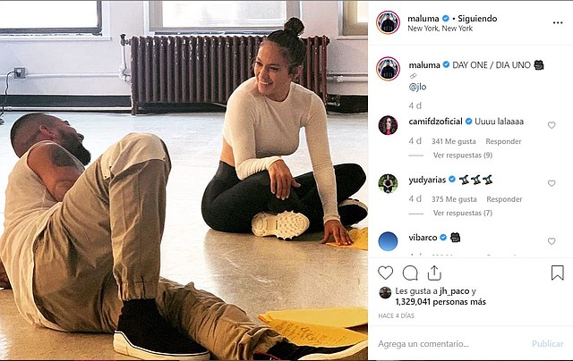 Ensayos entre Maluma y JLo. | Foto captura de pantalla de Instagram.