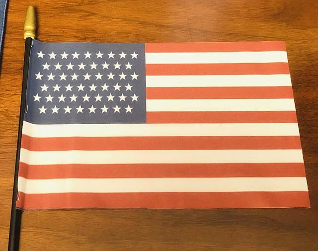 ESTRELLAS. La comisionada presento una bandera con 51 estrellas e indicó que la bandera no cambiaría su esencia. | Foto: Ana Núñez - ETL.