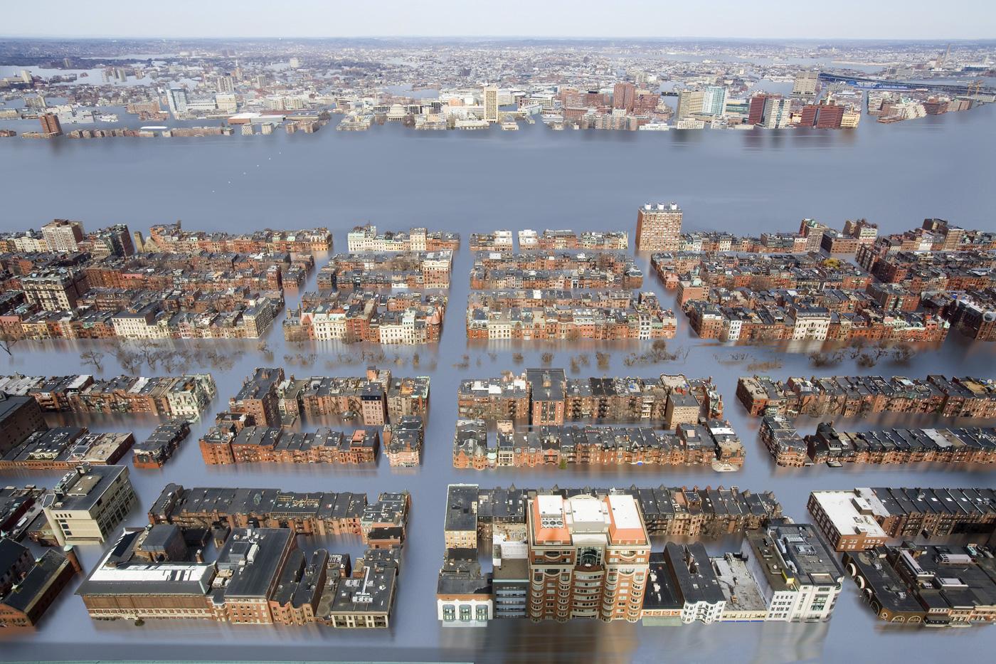 CLIMA. Imagen de Climate Central en la que se muestra un escenario potencial de un futuro aumento del nivel del mar de 25 pies / Crédito: Nickolay Lamm