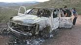 DESGARRADOR. En este vehículo fueron encontrados los restos de una madre y sus cuatro hijos. Fueron baleados e incinerados por presuntos narcotraficantes.