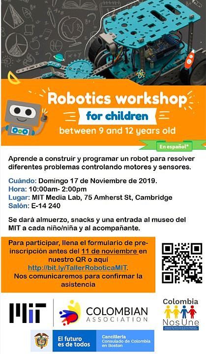 ACTIVIDAD. Taller de Robótica de la Asociación de Colombianos de MIT y del Consulado de Colombia en Boston