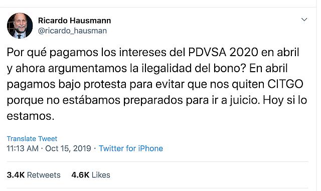Tweet del Dr. Ricardo Hausman (15 de octubre de 2019, 8:13 am).