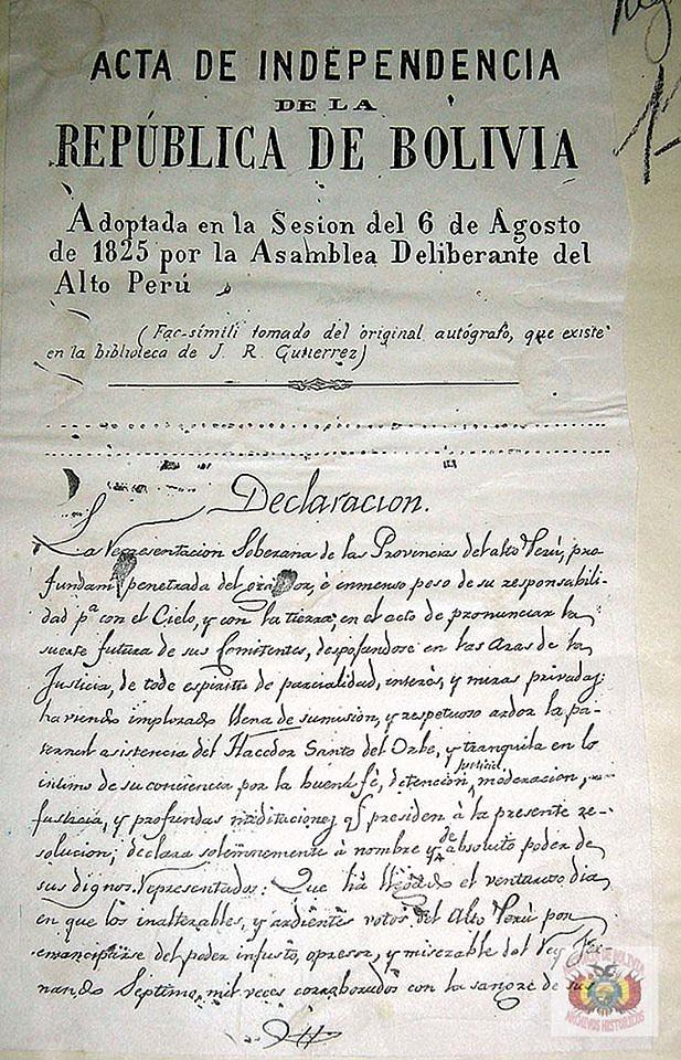 HISTORIA. Acta de Independencia de Bolivia