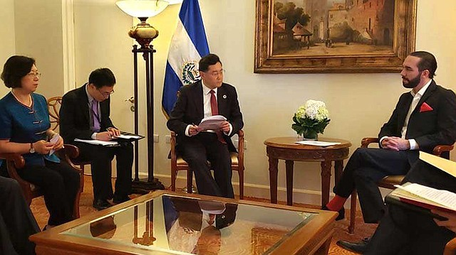 El vicecanciller chino Qin Gang se reunió con Nayib Bukele el 1° de junio en su toma de posesión del Ejecutivo. | Foto: archivo/elsalvador.com