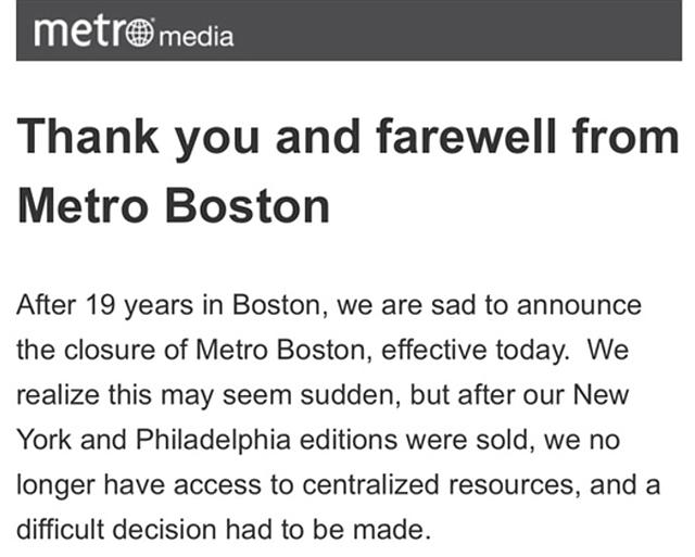 BOSTON. Captura de la publicación de despedida del periódico