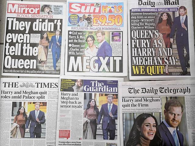 REALEZA. Los periódicos del Reino Unido abrieron con la noticia dada por Harry y Meghan Markle. | Foto: Efe.