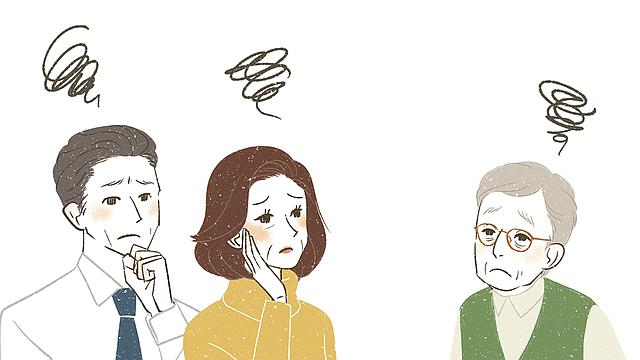 ILUSTRACIÓN. Adultos mayores confundidos