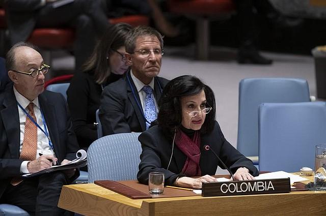 SESIÓN. La canciller colombiana, Claudia Blum, destacó la importancia de la participación de organismos internacionales en su país. | Foto: Efe.