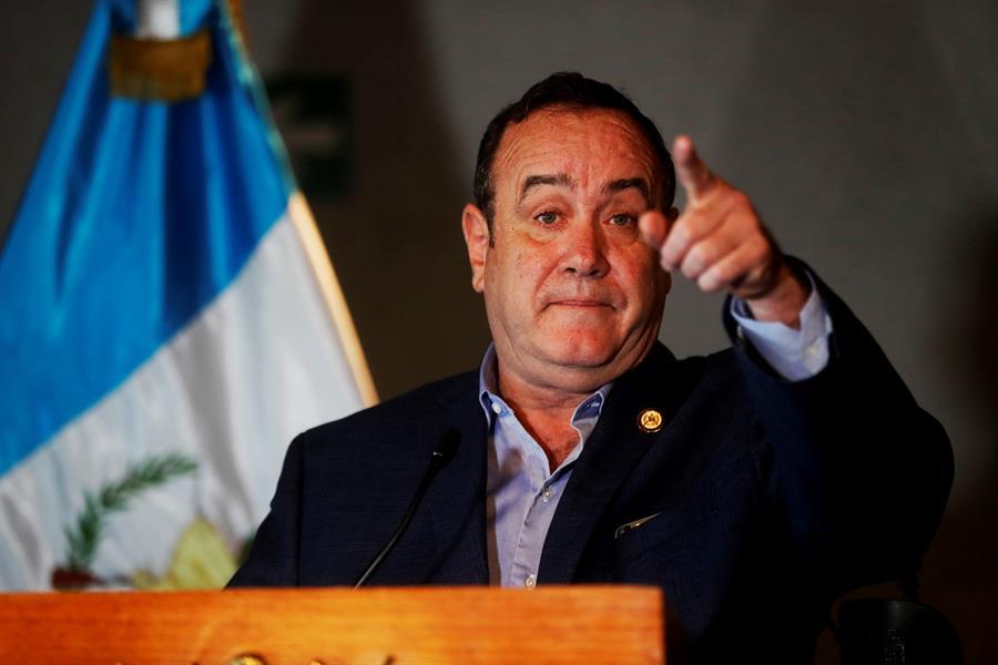 GUATEMALA. El presidente electo de Guatemala, Alejandro Giammattei, ofrece una conferencia de prensa, previo al ensayo de investidura, este lunes, en el Teatro Nacional