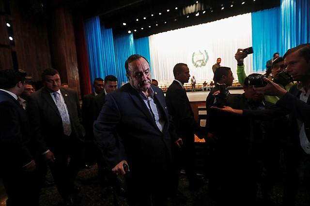 POLÍTICA. El presidente electo de Guatemala, Alejandro Giammattei, ofrece una conferencia de prensa, previo al ensayo de investidura, este lunes, en el Teatro Nacional de Guatemala (Guatemala)