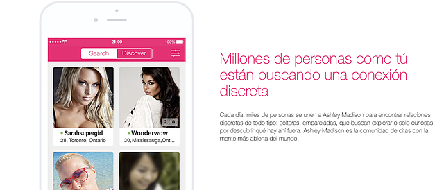 PAREJAS. Miles de personas se unen a Ashley Madison para encontrar relaciones discretas de todo tipo