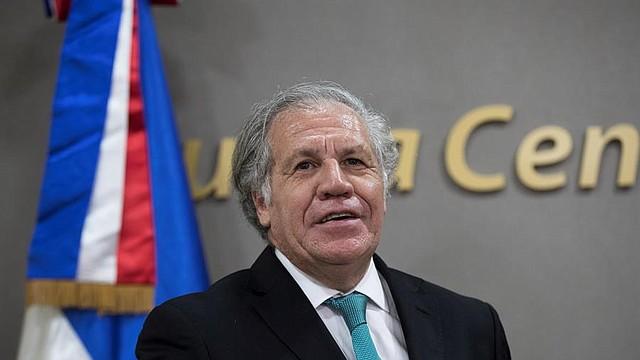 El secretario general de la Organización de Estados Americanos (OEA), Luis Almagro, durante la firma de un acuerdo para auditar el proceso del voto automatizado en las suspendidas elecciones municipales, en Santo Domingo (República Dominicana). FOTO - EFE/Orlando Barría