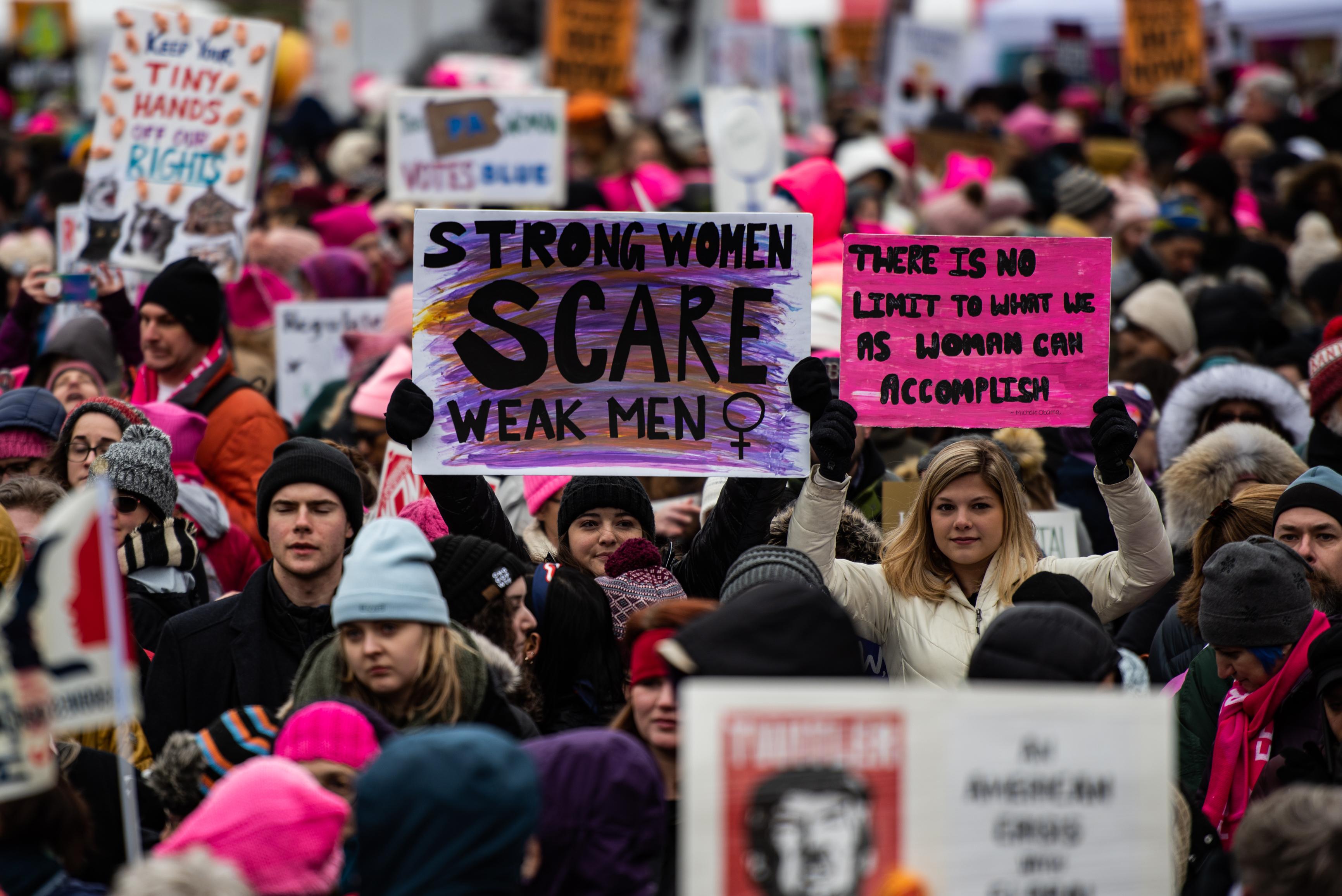 MUJERES. Participantes de la Marcha de las Mujeres en enero durante el cuarto evento anual que se llevó a cabo en Freedom Plaza, en Washington, DC. | FOTO: Salwan Georges The Washington Post