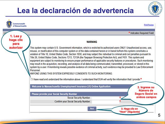 El Departamento de Asistencia al Desempleado ofrece este documento para ayudar a los hispanohablantes a navegar la plataforma de solicitud en línea. (Captura de pantalla vía DUA)