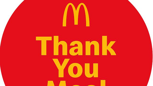 Los Thank You Meals serán ofrecidos en McDonald's participantes en los Estados Unidos desde el 22 de abril hasta el 5 de mayo de 2020. Se requiere una identificación válida. Límite de uno persona por día. FOTO: McDonald's