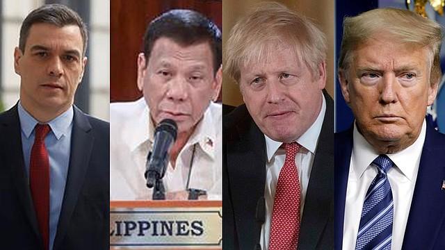 MUNDO. Pedro Sánchez, Presidente del Gobierno de España. Rodrigo Duterte, Presidente de Filipinas. Boris Johnson, Primer ministro del Reino Unido. Donald Trump, Presidente de Estados Unidos
