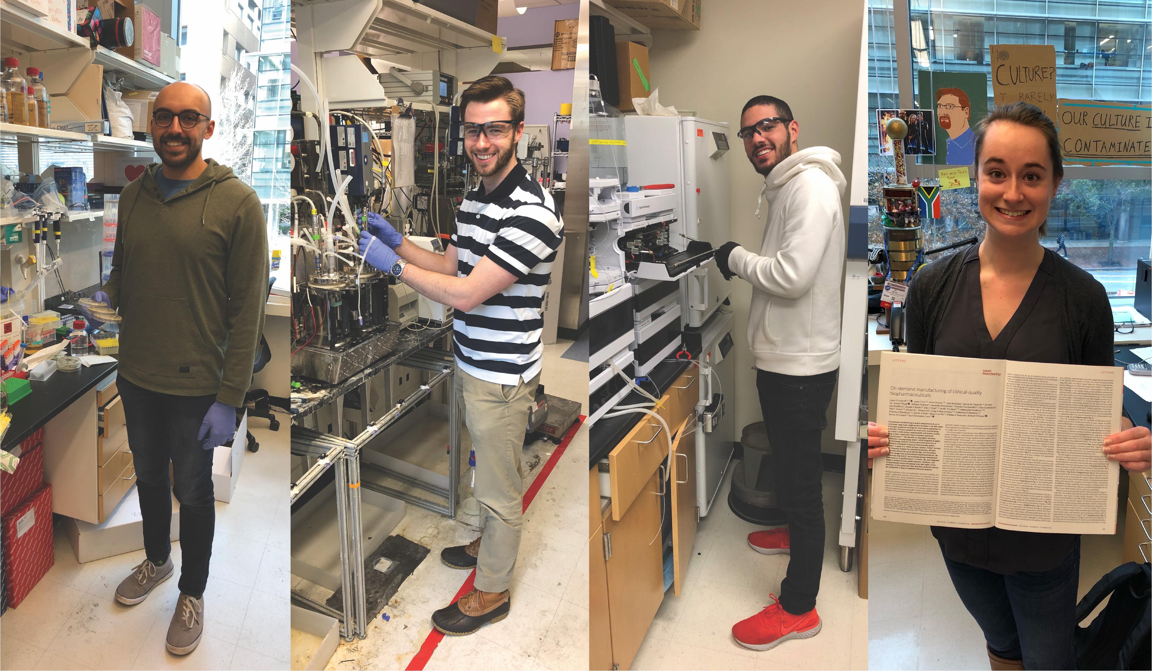 "Miembros del laboratorio ""Love"": Neil Dalvie, ingeniero químico; Andrew Biedermann, ingeniero químico; Sergio Rodríguez, biotecnólogo;  Laura Crowell, ingeniero químico."