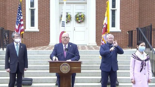 SALUD. El gobernador Larry Hogan pidió a los residente seguir las pautas de distanciamiento social, lavado de manos y mantener cubierto el rostro en exteriores.   Foto: Captura de pantalla de video.