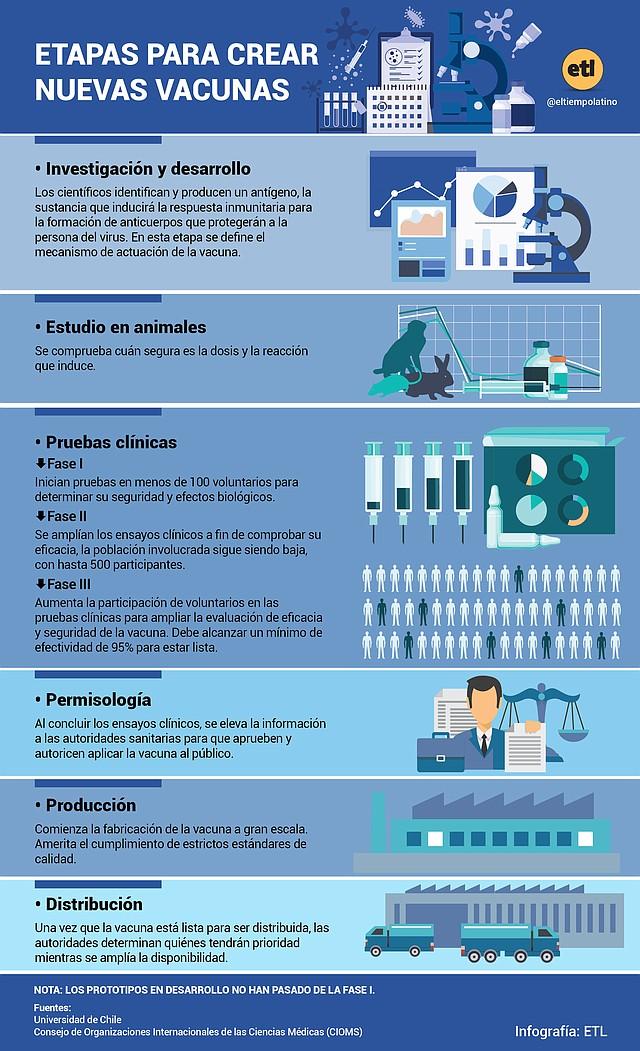 Etapas para crear nuevas vacunas.   Infografía: El Tiempo Latino.