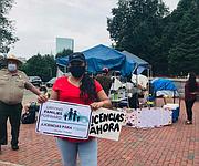 Irma Amaya en la protesta.  | FOTO: Sofía Hernández Carrillo - El Planeta